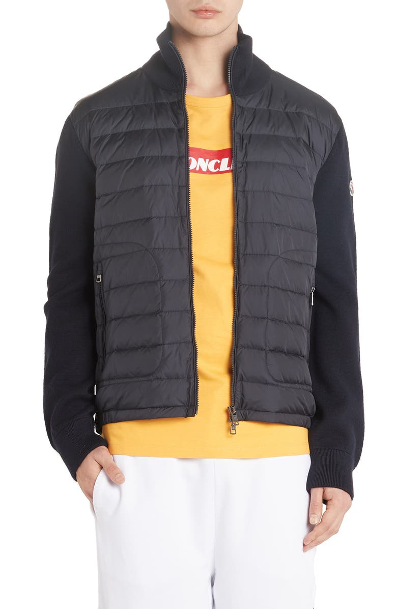 MONCLER Mixed Media Down Jacket, Main, color, NAVY