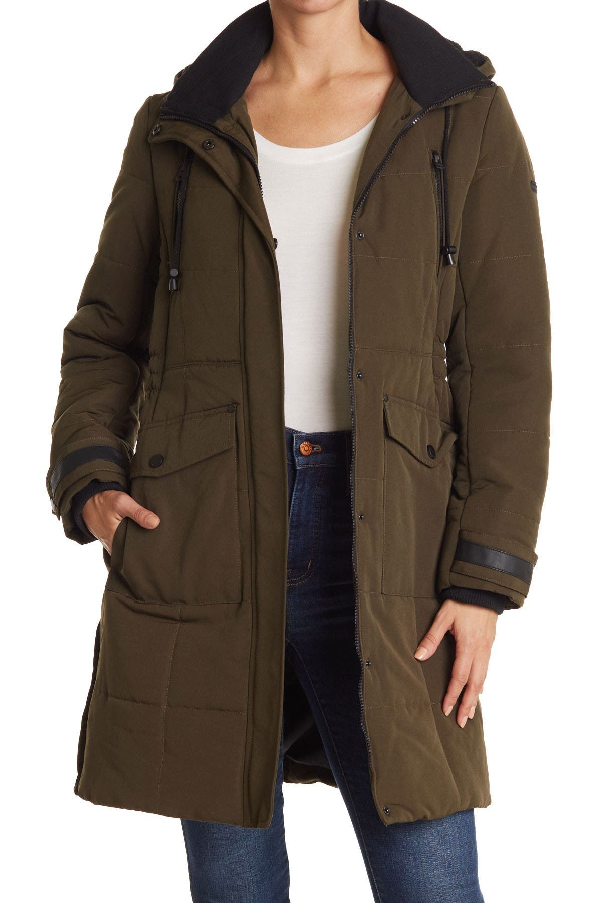 Image of Lucky Brand Quilted Hooded Long Parka Jacket