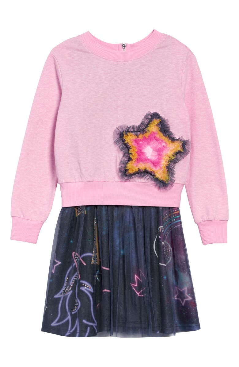 TRULY ME Star Sweatshirt & Tutu Dress Set, Main, color, PINK MULTI