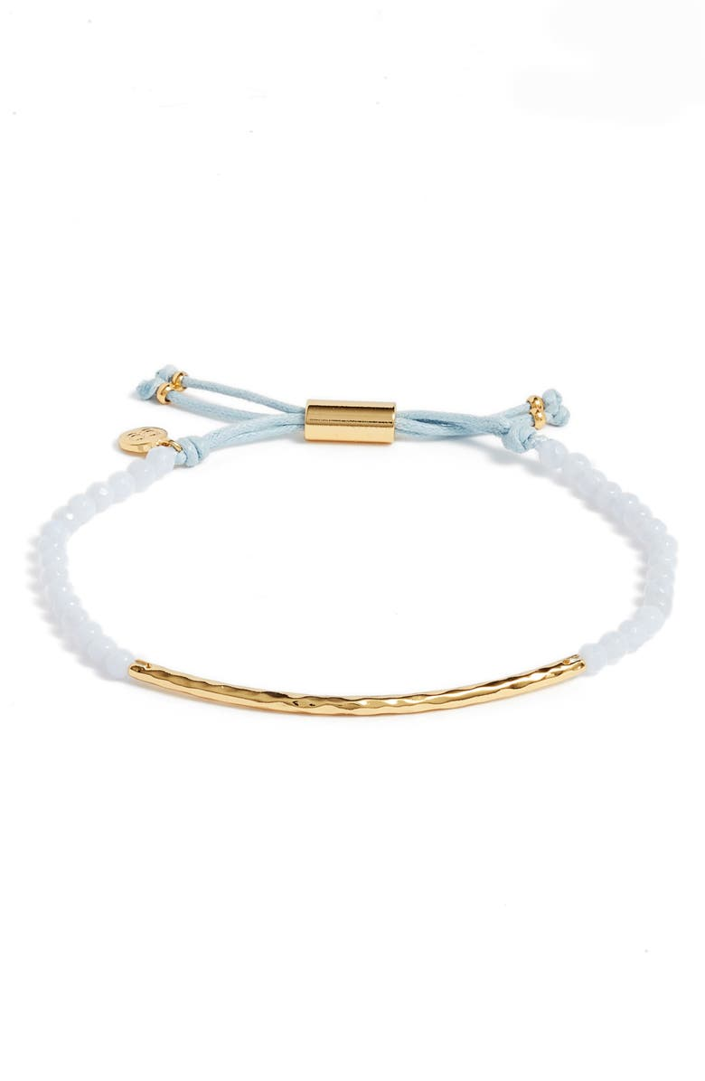 GORJANA Power Gemstone Self-Expression Bracelet, Main, color, SELF EXPRESS/ BLUE AGATE/ GOLD