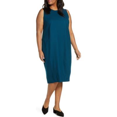 Plus Size Eileen Fisher Crewneck Sleeveless Wool Lantern Dress, Blue