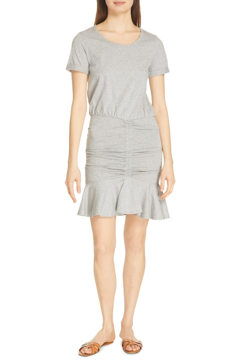VERONICA BEARD Flounce Skirt T-Shirt Dress, Main, color, HEATHER GREY