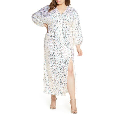 Plus Size Eloquii Long Sleeve Sequin Gown, Pink