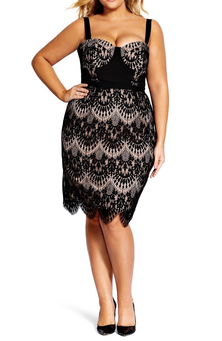CITY CHIC Jolie Scallop Lace Sheath Dress, Main, color, 001