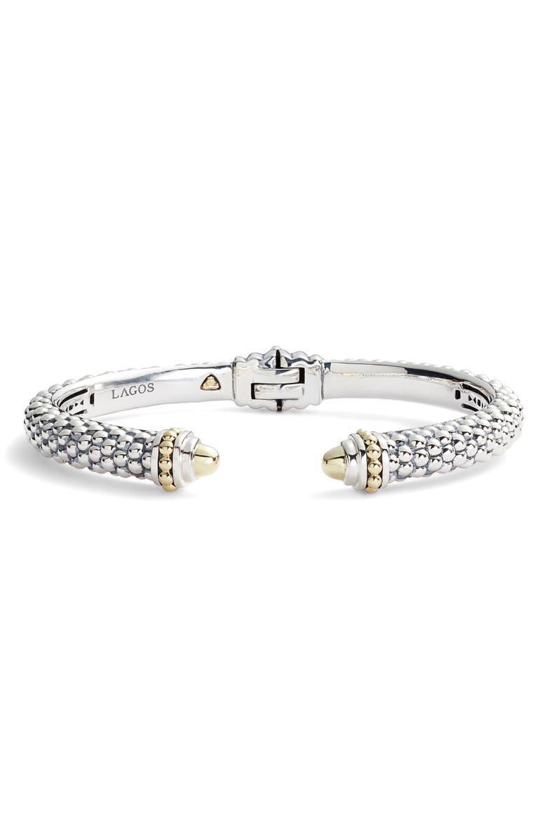 LAGOS Signature Caviar Hinge Cuff Bracelet, Main, color, SILVER