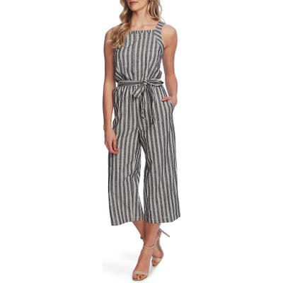 Cece Double Stripe Sleeveless Crop Jumpsuit, Black