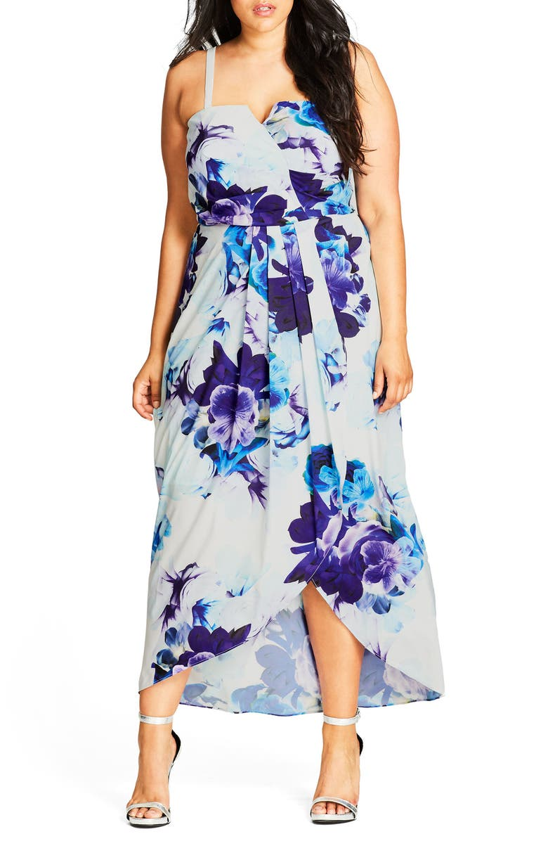 CITY CHIC Blue Bloom High/Low Maxi Dress, Main, color, 900