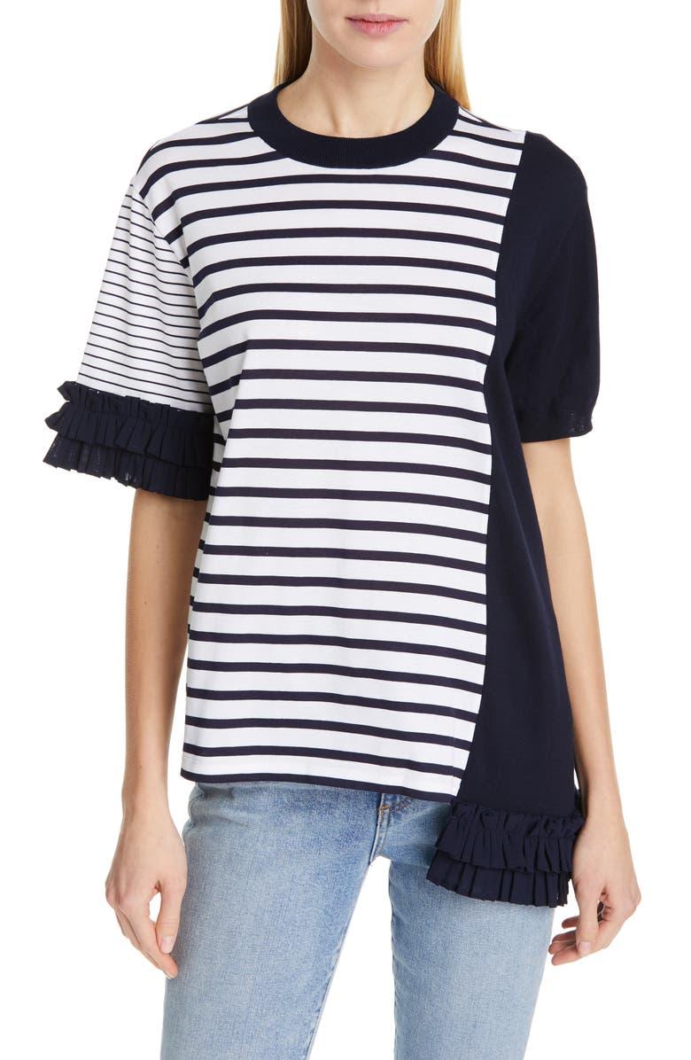 CLU Stripe Asymmetrical Ruffle Top, Main, color, 400