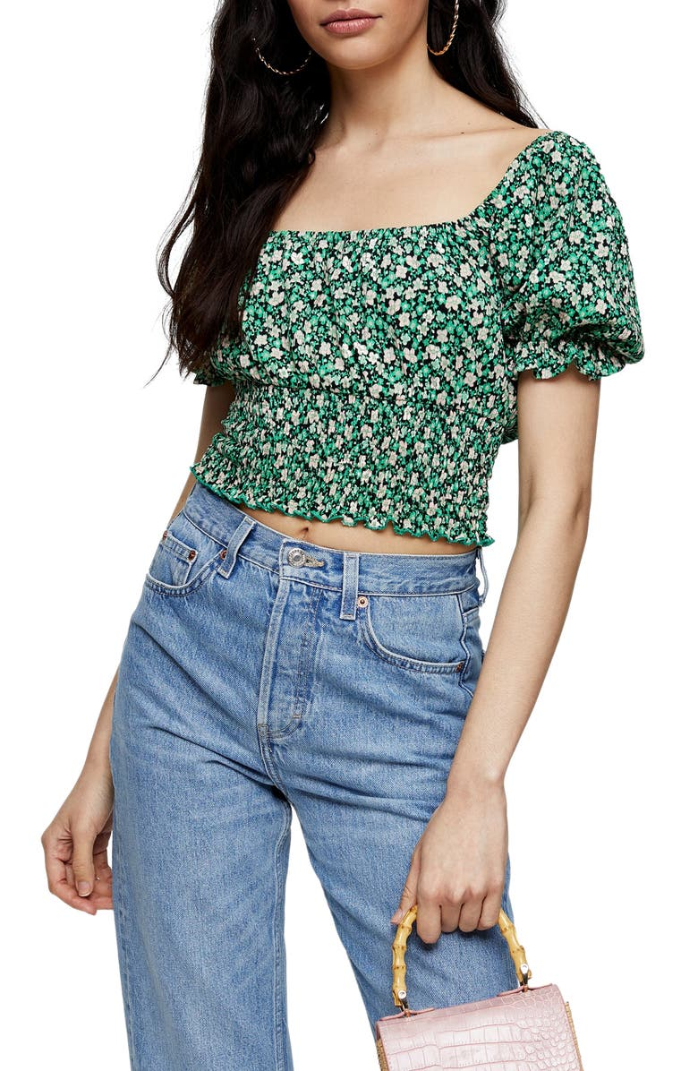 TOPSHOP Floral Puff Sleeve Crop Top, Main, color, GREEN MULTI