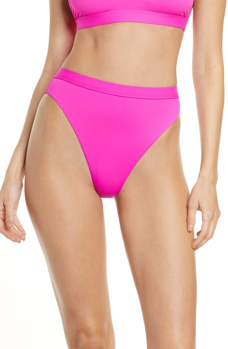 DIPPIN DAISYS Dippin' Daisy's Ultra High Waist Banded Bikini Bottom, Main, color, DRAGONFRUIT