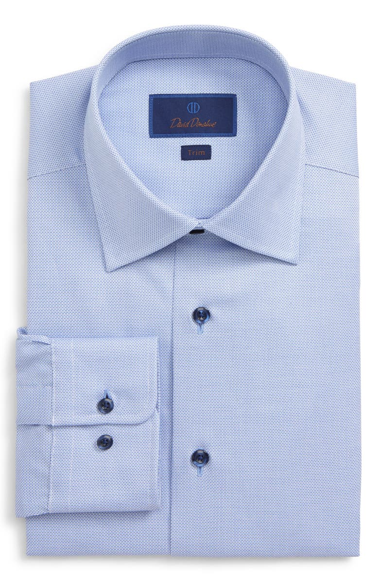 DAVID DONAHUE Trim Fit Solid Dress Shirt, Main, color, BLUE