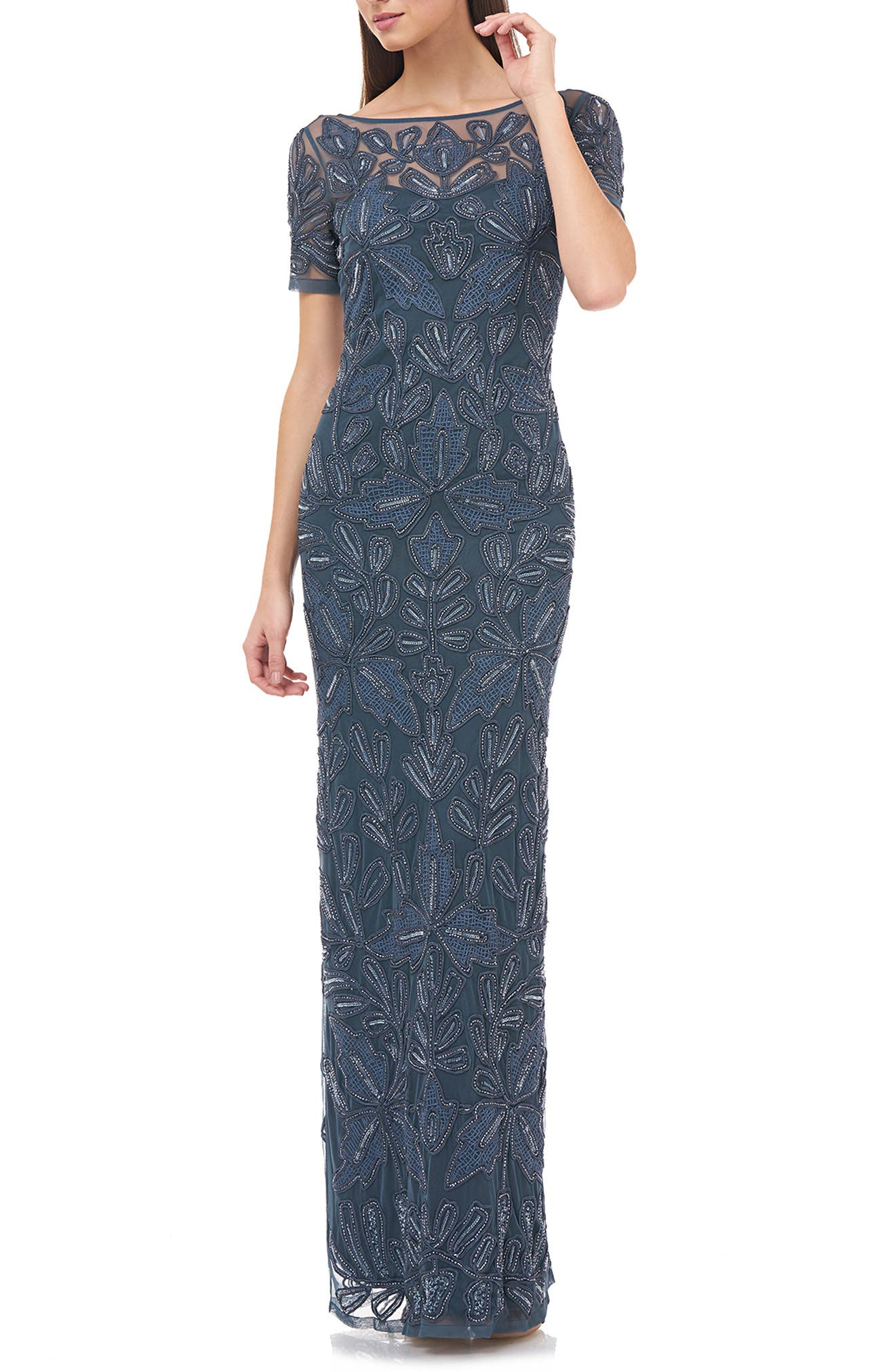 1920s Evening Dresses & Formal Gowns Womens Js Collections Beaded Soutache Evening Dress Size 4 - Blue $368.00 AT vintagedancer.com