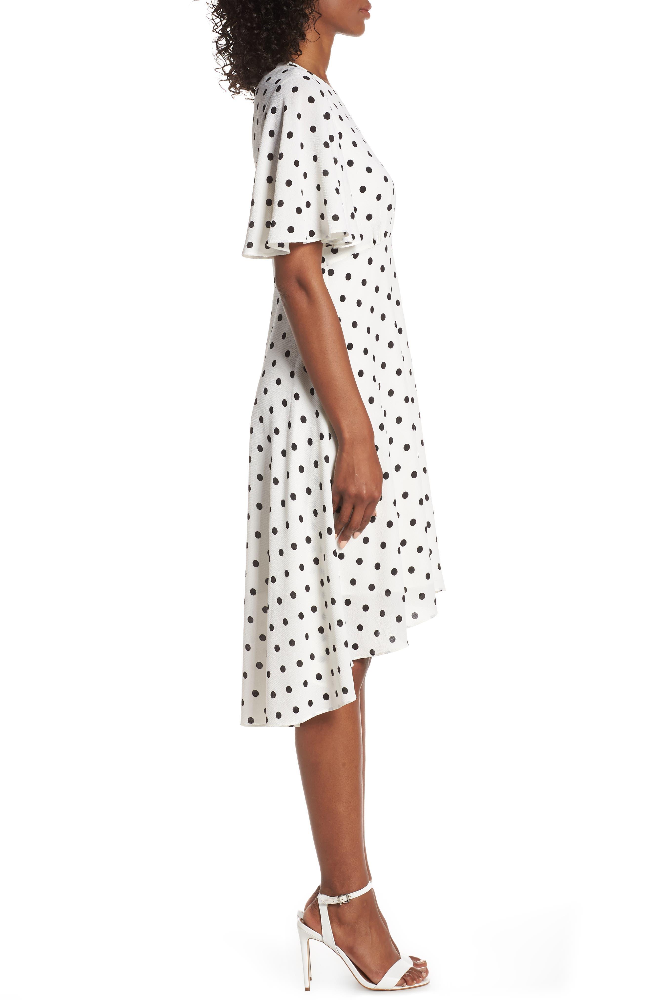 ,                             Dot High/Low Fit & Flare Dress,                             Alternate thumbnail 4, color,                             BLACK/ WHITE