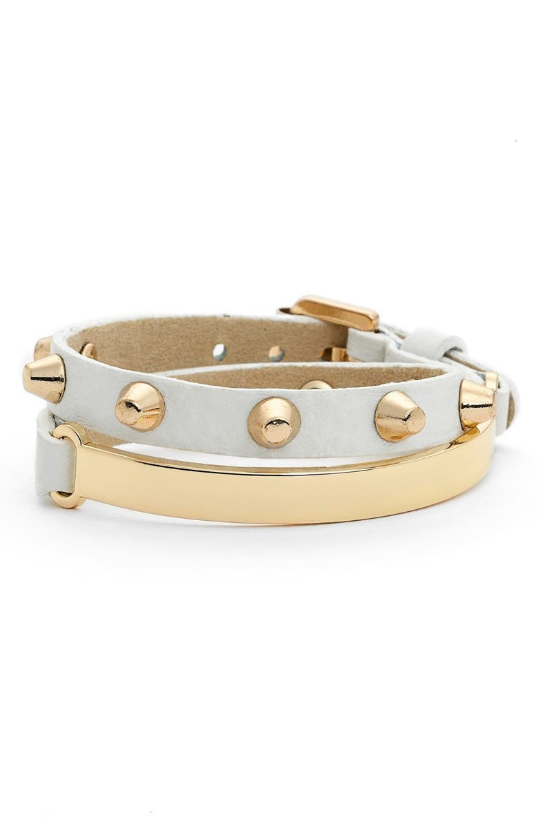 JULES SMITH Studded Wrap Bracelet, Main, color, YELLOW GOLD/WHITE