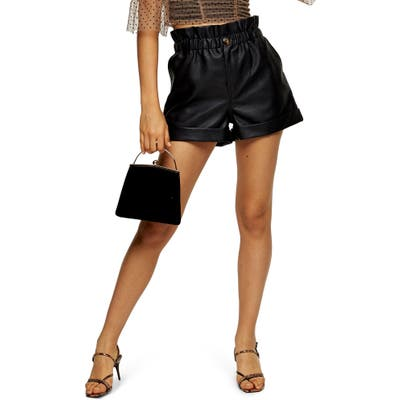 Topshop Paperbag Waist Faux Leather Shorts, US (fits like 0-2) - Black