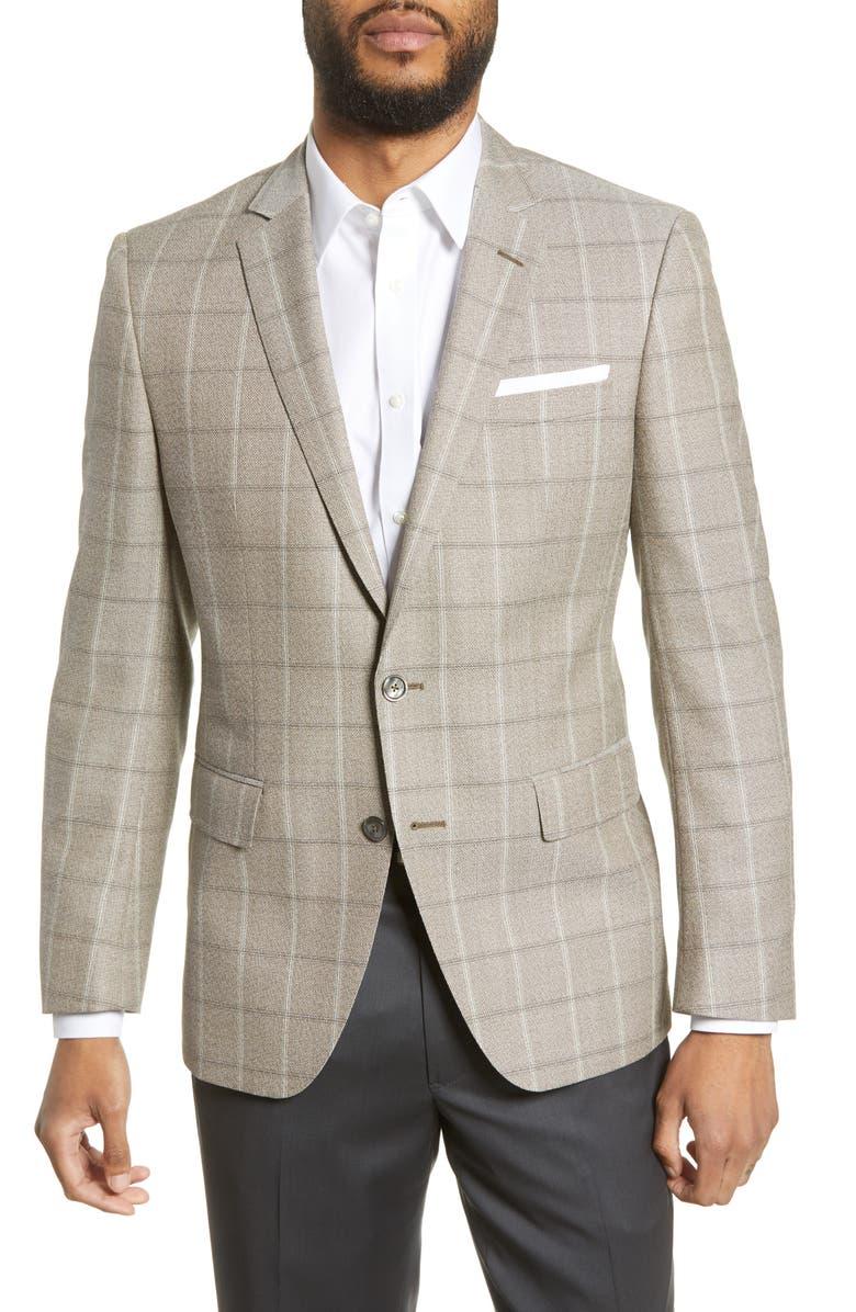 BOSS Hutsons Trim Fit Windowpane Wool Sport Coat, Main, color, TAN
