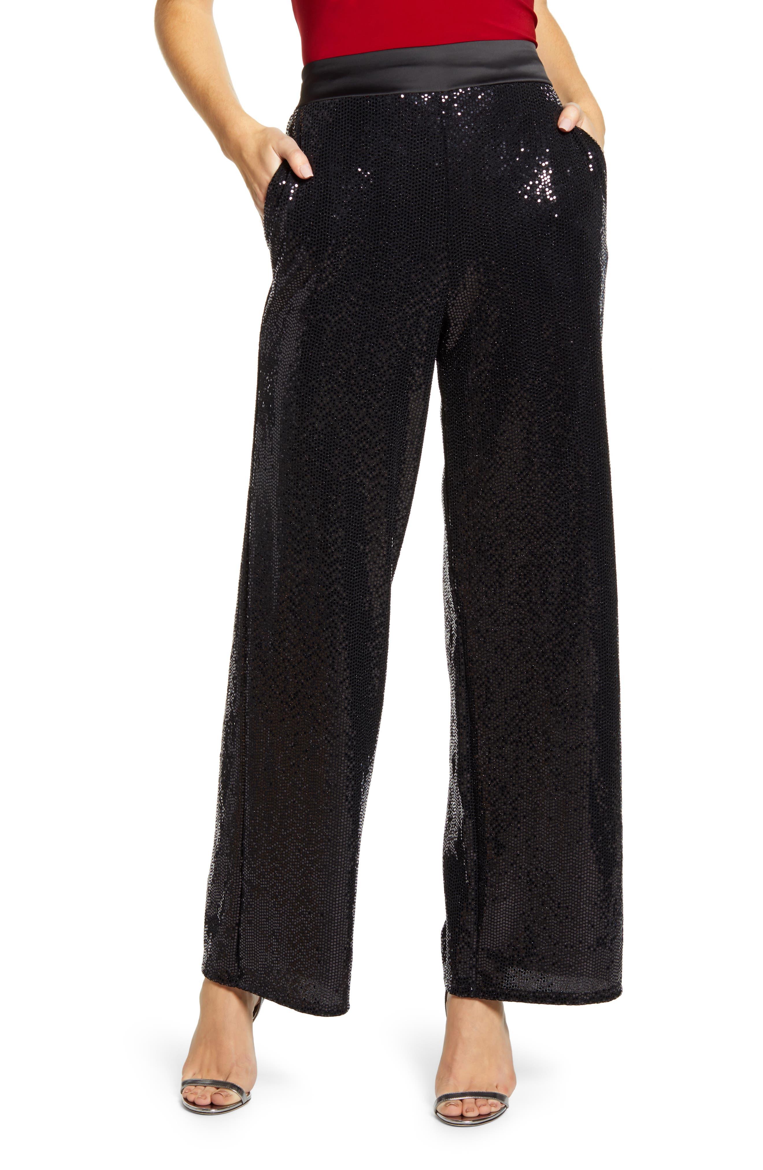 Gibson x Glam Tara Gibson Wide Leg Sequin Pants (Regular & Petite) (Nordstrom Exclusive)