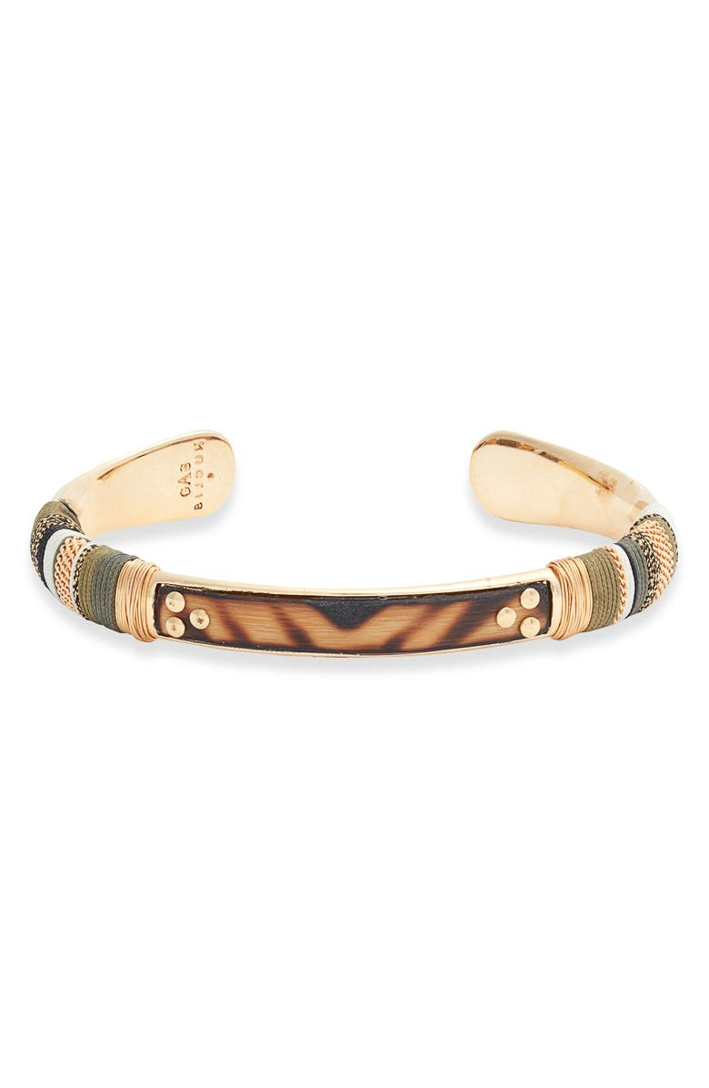 GAS BIJOUX Massai Cuff Bracelet, Main, color, BROWN/ MULTI