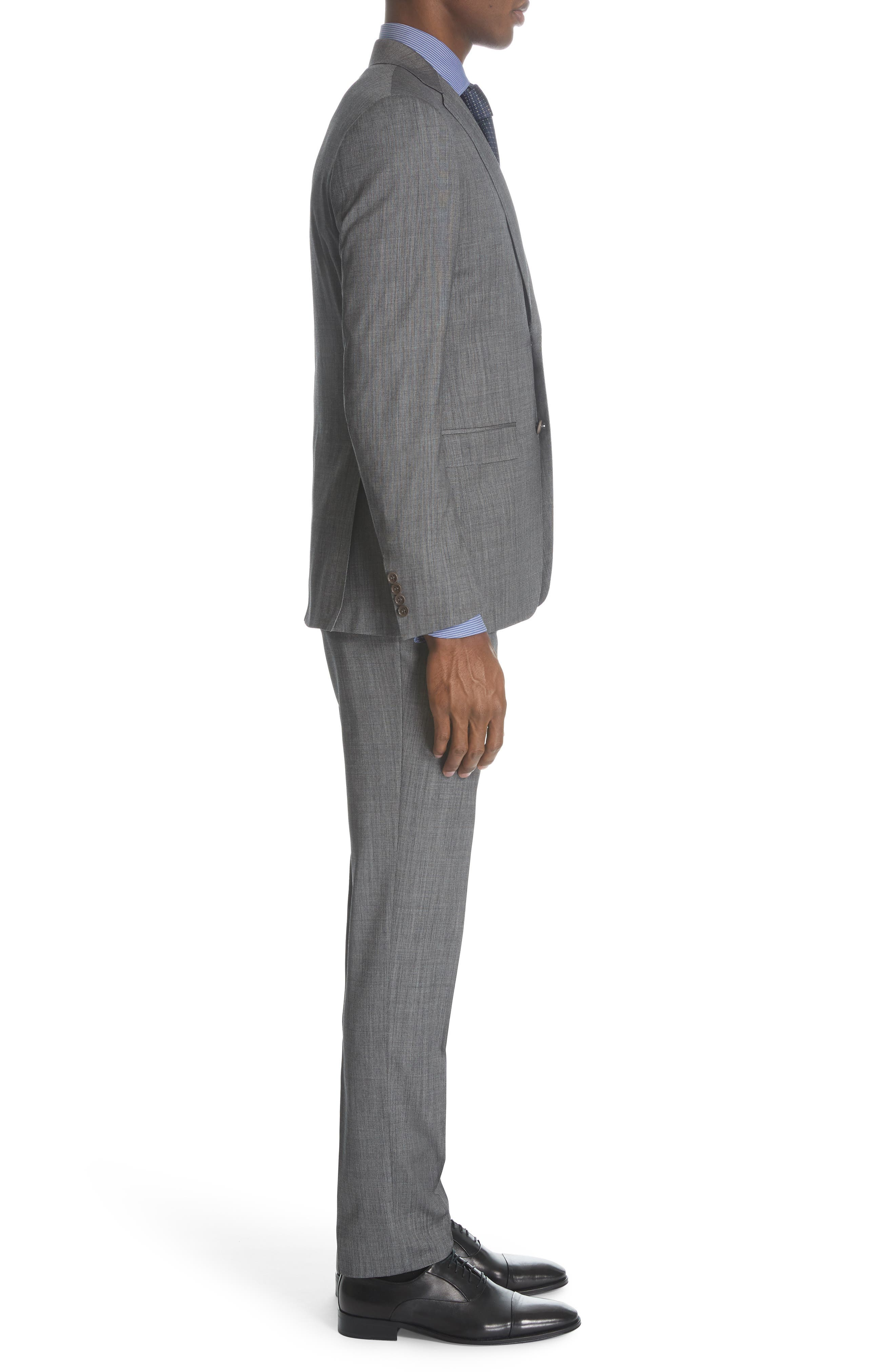 ,                             Milano Classic Fit Solid Wool & Silk Suit,                             Alternate thumbnail 3, color,                             DARK GREY