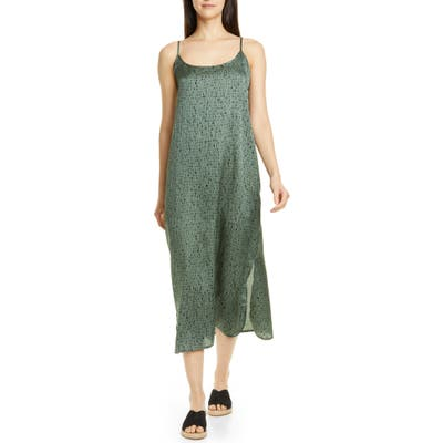 Petite Eileen Fisher Sleeveless Silk & Organic Cotton Maxi Dress, Green