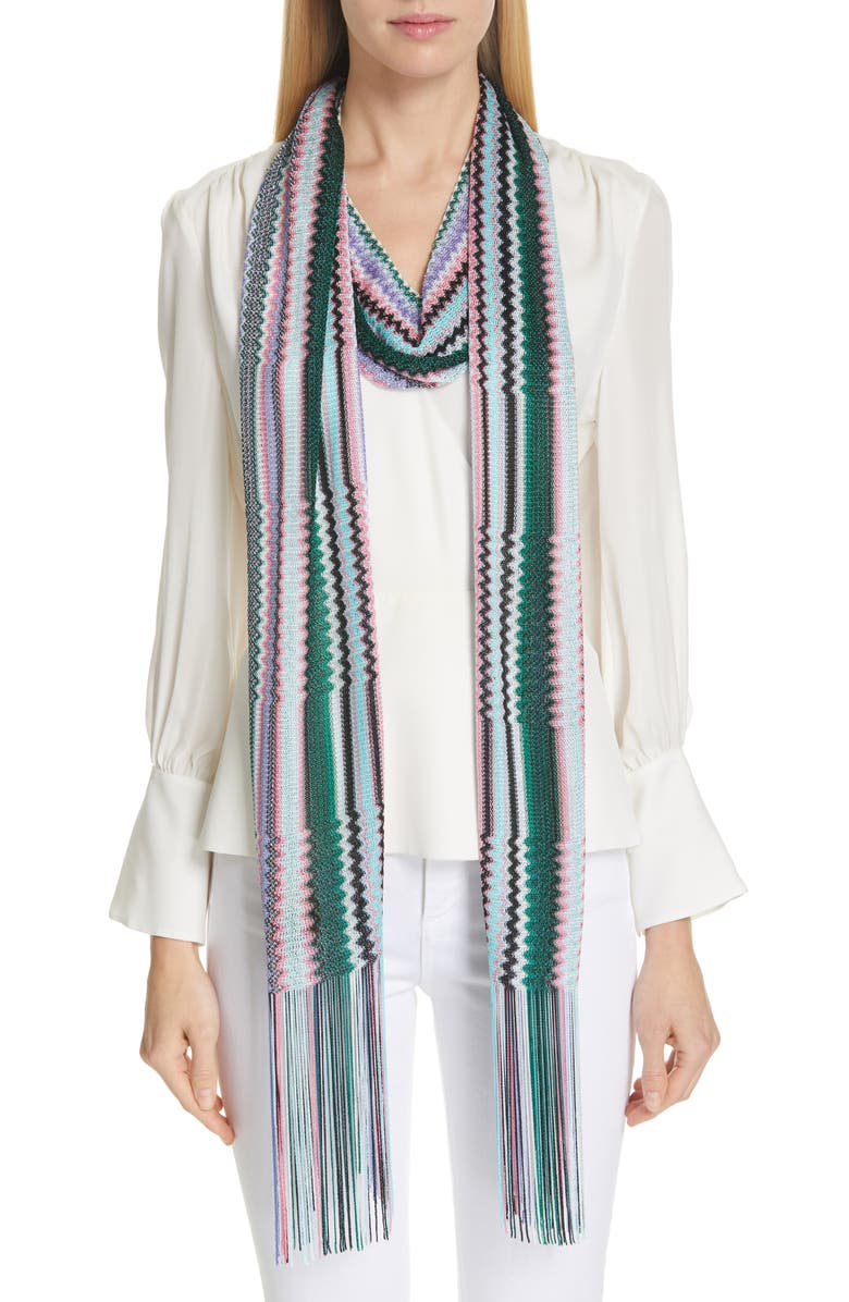 MISSONI Zigzag Fringed Skinny Scarf, Main, color, ULTRAMARINE GREEN