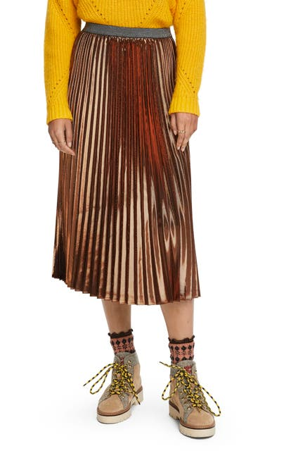Image of Scotch & Soda Metallic Pleated Midi Skirt