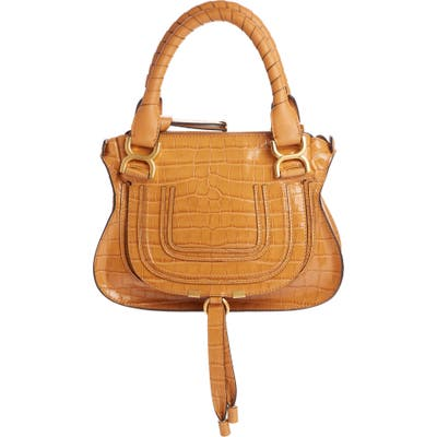 Chloe Small Marcie Croc Embossed Leather Satchel - Brown