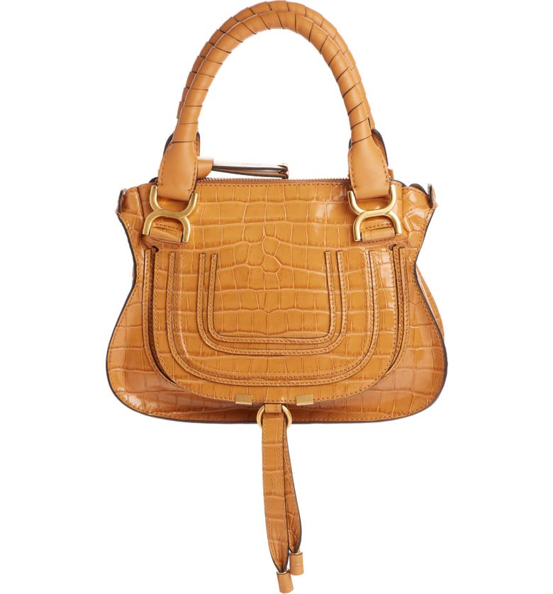 CHLOÉ Small Marcie Croc Embossed Leather Satchel, Main, color, AUTUMNAL BROWN
