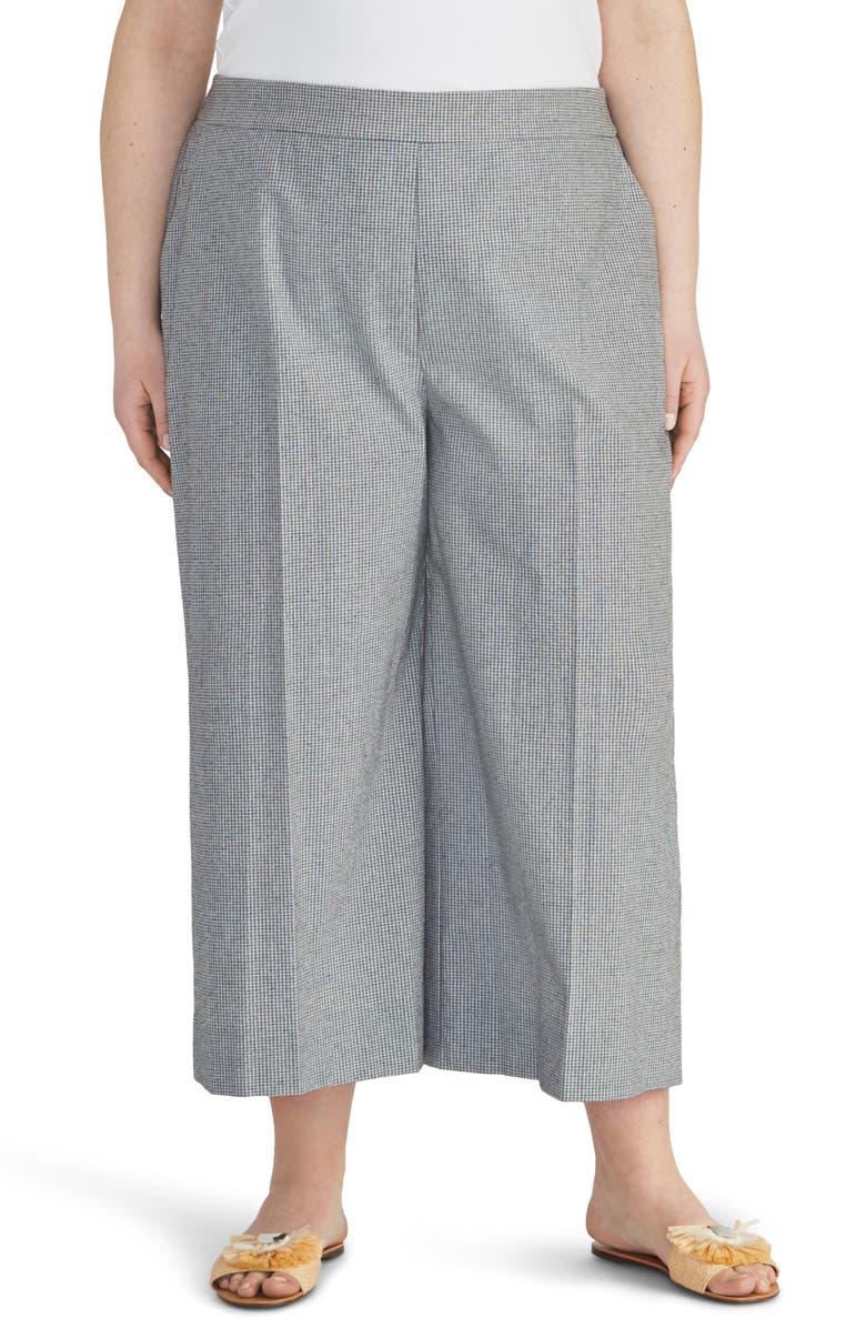 RACHEL ROY COLLECTION Check Crop Wide Leg Pants, Main, color, 001