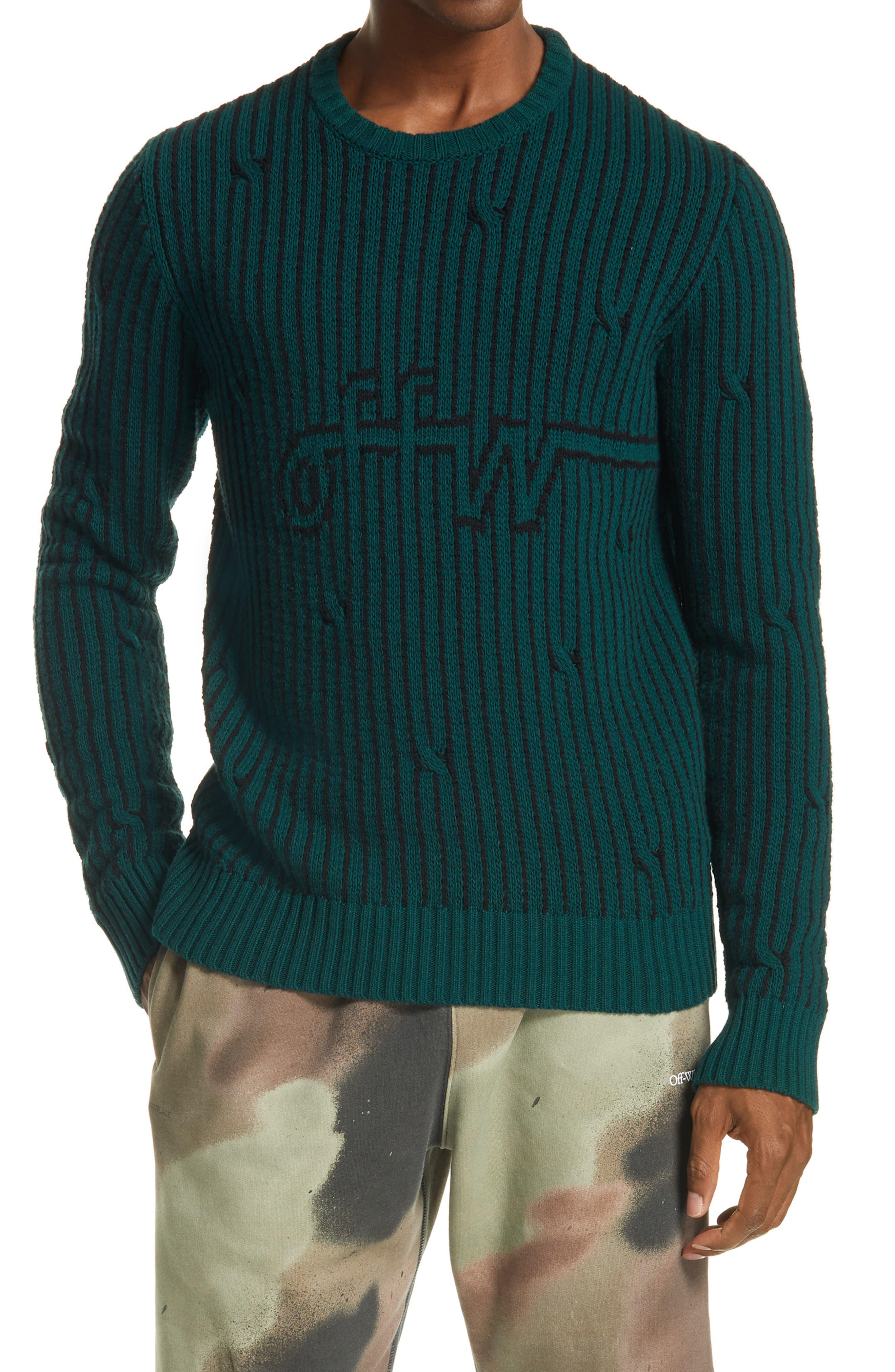 A simplistic logo blends in with the intersecting stripes on this cozy woolen sweater. Style Name: Off-White Logo Jacquard Wool Blend Men\\\'s Sweater. Style Number: 6074732. Available in stores.
