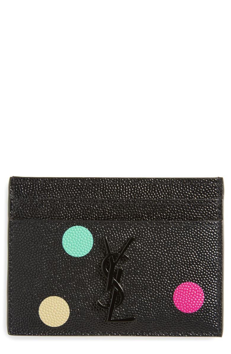 Saint Laurent Confetti Calfskin Leather Card Case