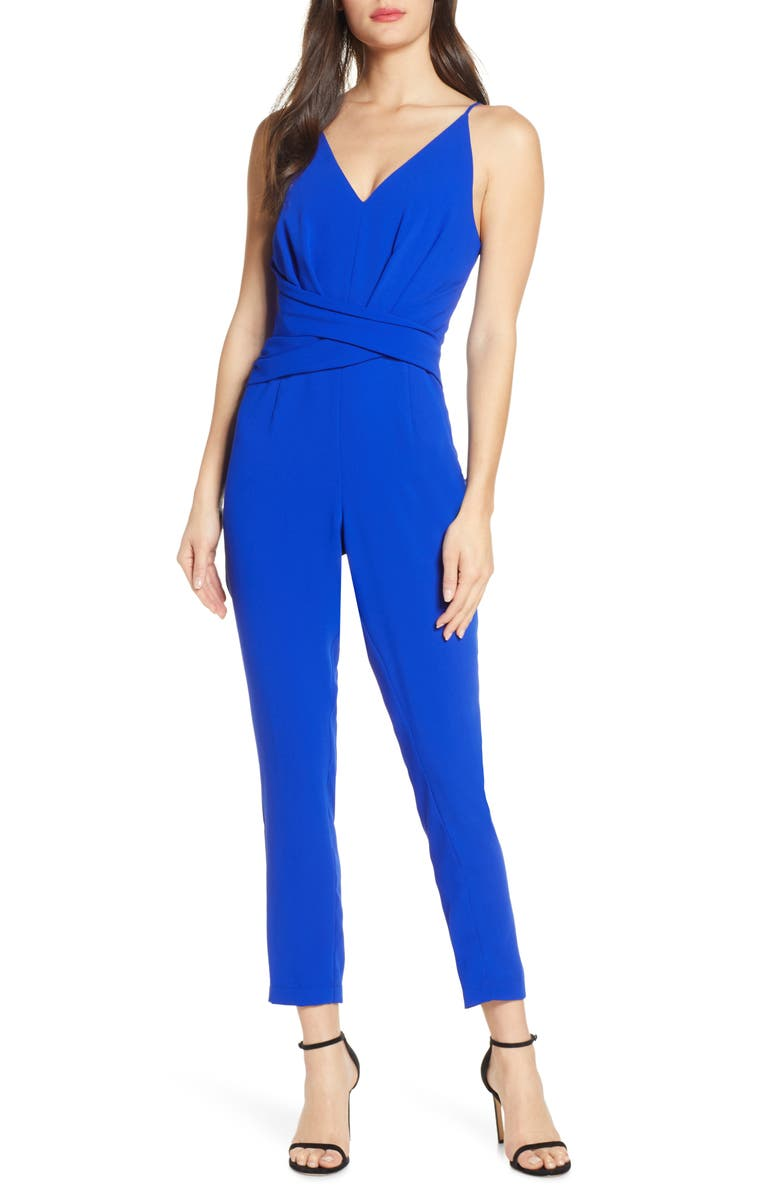 HARLYN Sleeveless Tapered Leg Jumpsuit, Main, color, COBALT