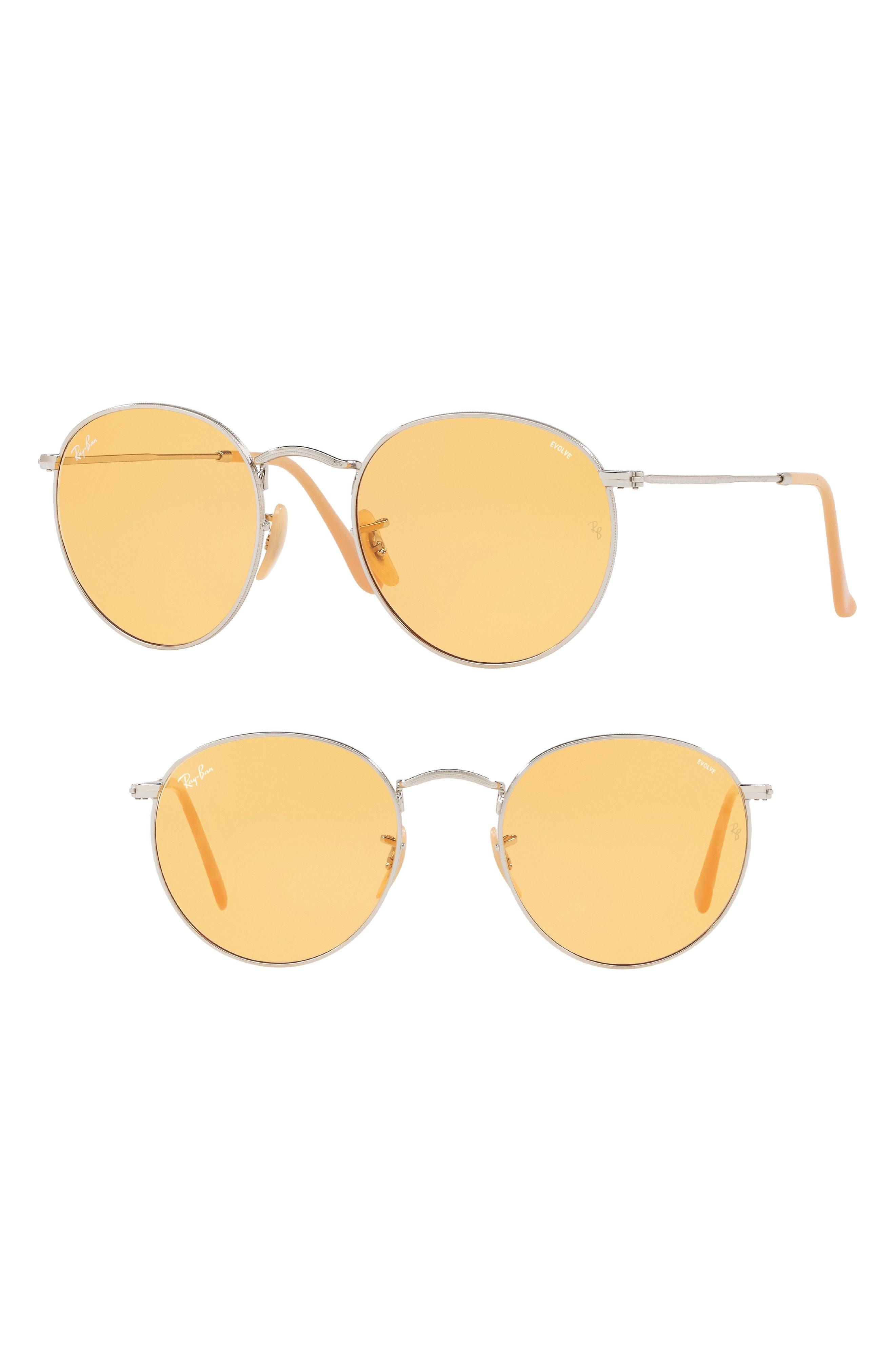 1960s Sunglasses | 70s Sunglasses, 70s Glasses Ray-Ban 53mm Evolve Photochromic Round Sunglasses Size One Size - Orange at Nordstrom Rack $128.97 AT vintagedancer.com
