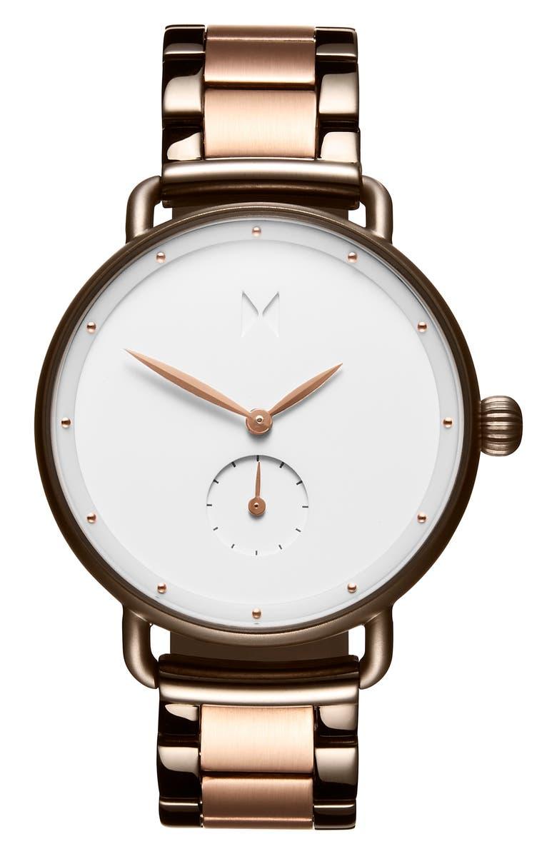MVMT Bloom Bracelet Watch, 36mm, Main, color, ROSE GOLD/ WHITE/ GREY