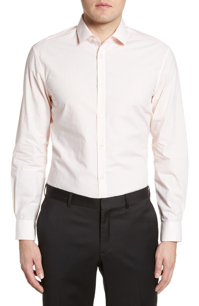 JOHN VARVATOS STAR USA Slim Fit Dot Dress Shirt, Main, color, CITRUS