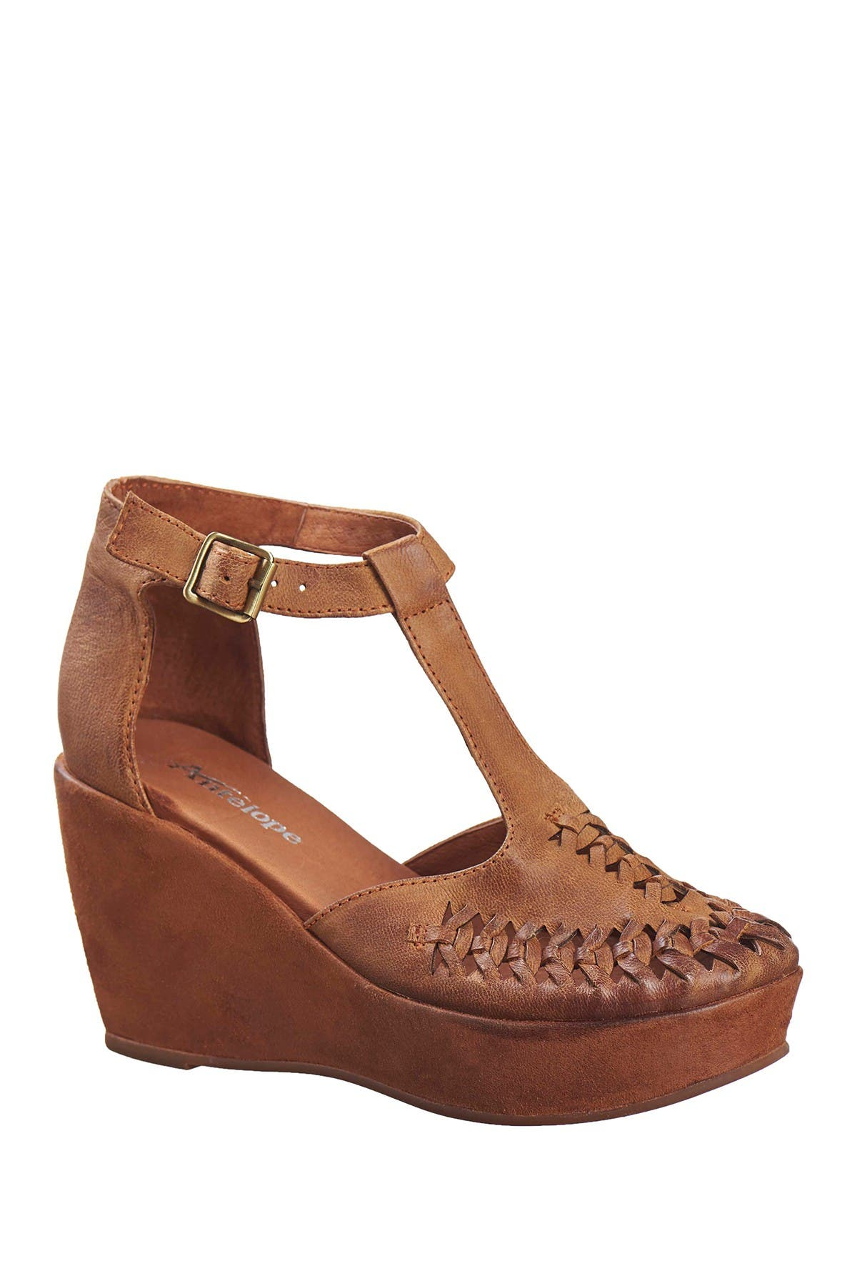 Image of Antelope Leather T-Strap Platform Wedge Pump