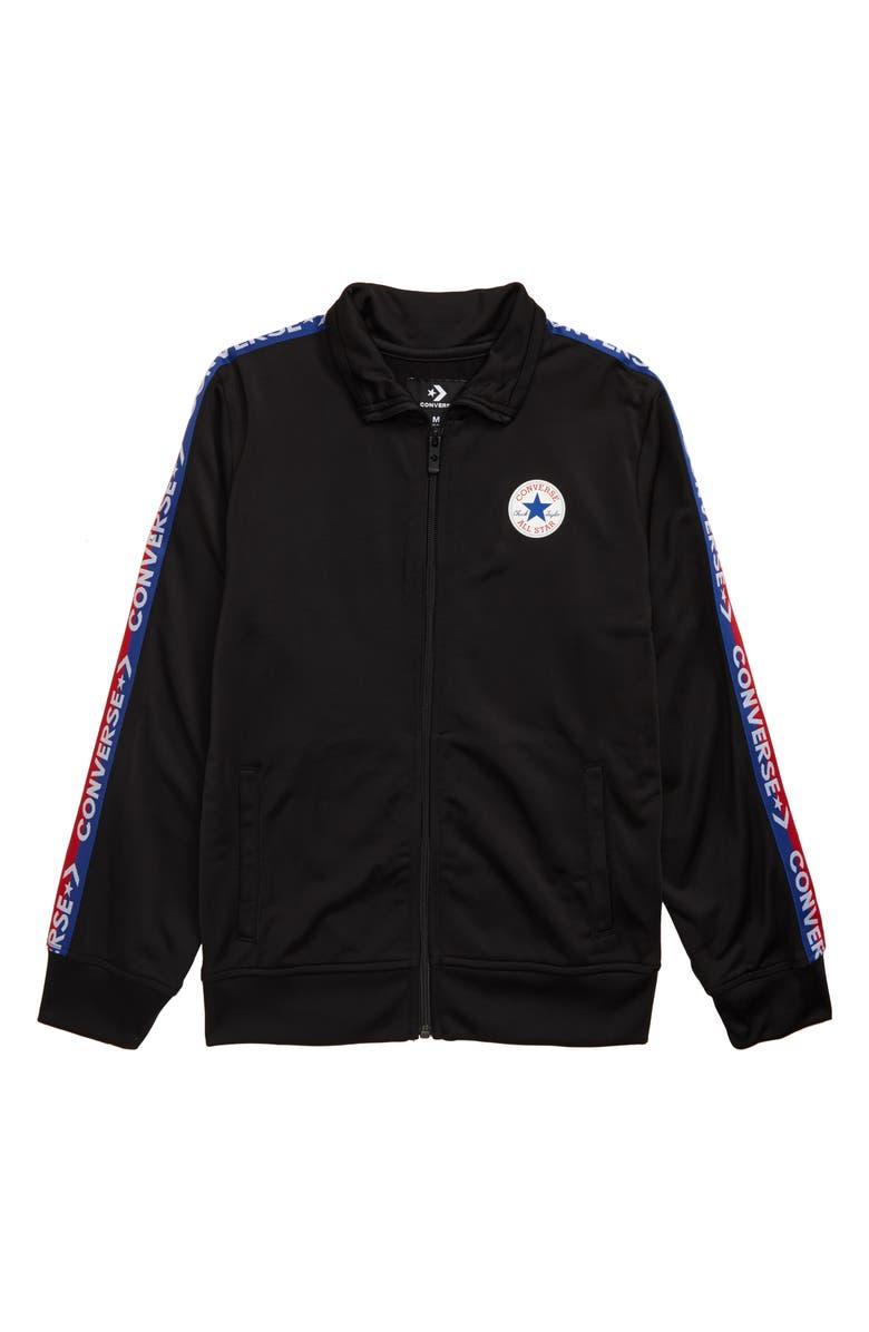 CONVERSE Track Jacket, Main, color, BLACK/ BLUE