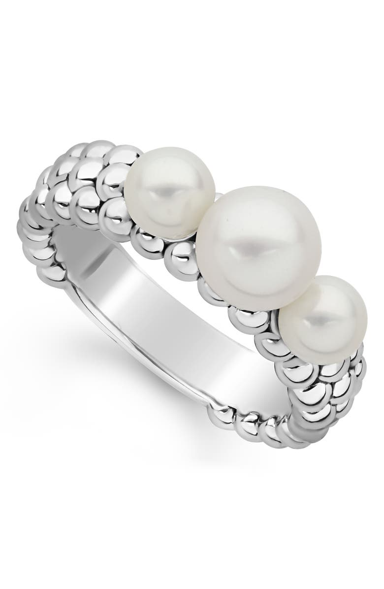 LAGOS Luna Pearl Caviar Band Ring, Main, color, SILVER/ PEARL