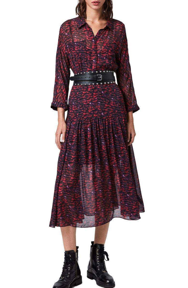 ALLSAINTS Eley Plume Midi Dress, Main, color, PINK