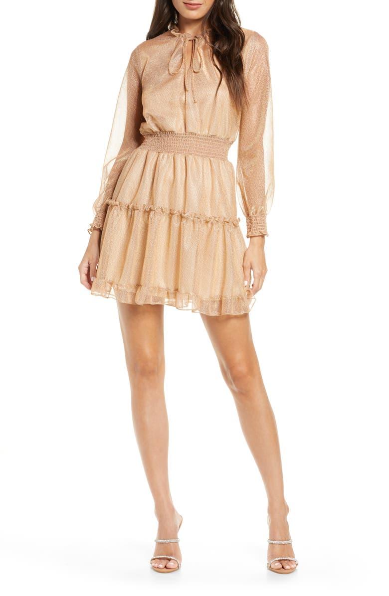 NSR Emma Floral Print Ruffle Dress, Main, color, GOLD
