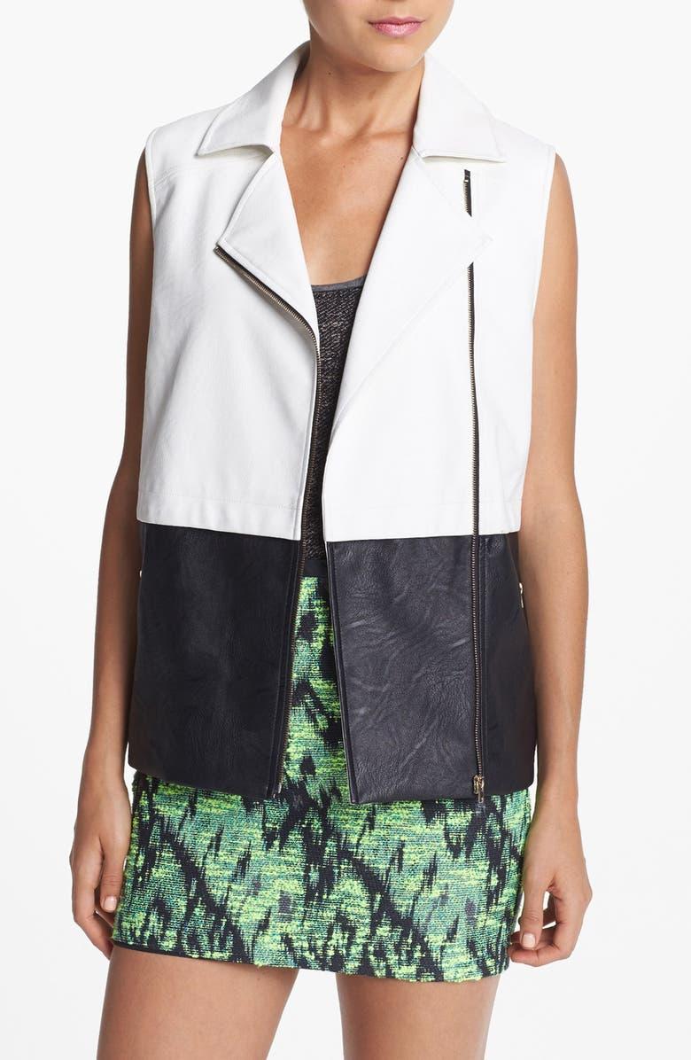 ASTR THE LABEL ASTR Colorblock Faux Leather Vest, Main, color, 100