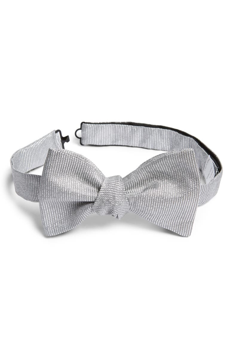ETON Solid Silk Blend Bow Tie, Main, color, GREY