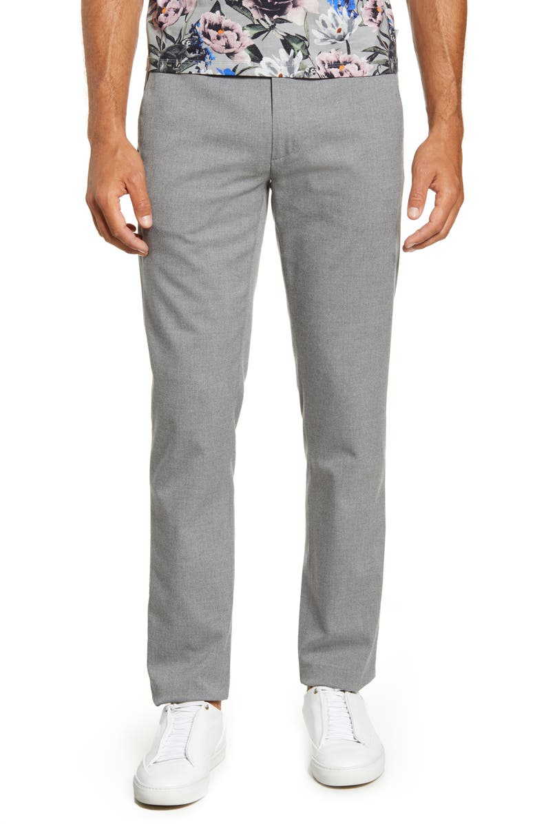 TED BAKER LONDON Slim Fit Flat Front Pants, Main, color, GREY MARL
