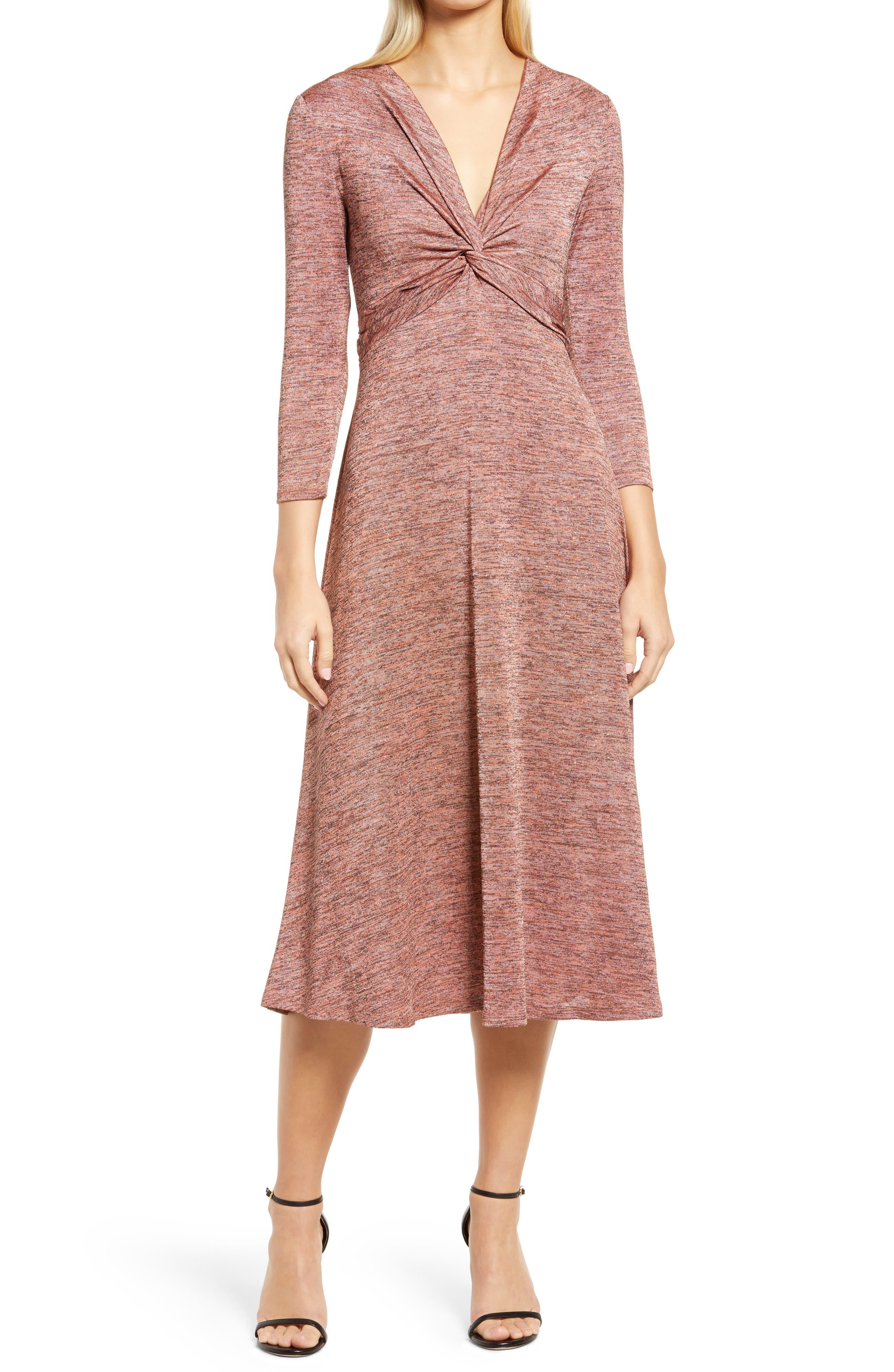 Knot Front Space Dye Knit Midi Dress