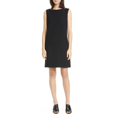 Eileen Fisher Jacquard Sleeveless Shift Dress, Black