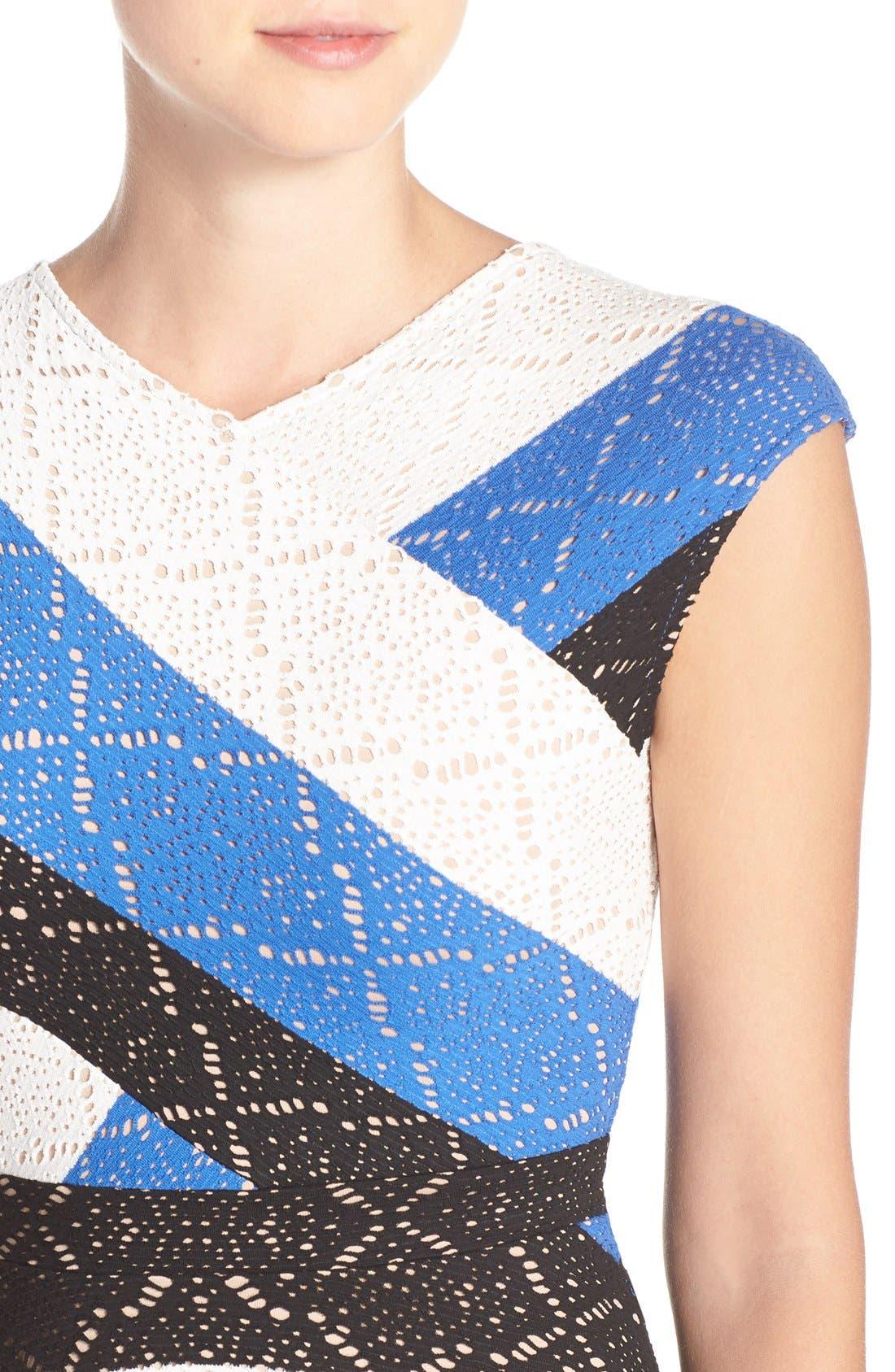 ,                             'Jasmyne' Stripe Lace Dress,                             Alternate thumbnail 3, color,                             475