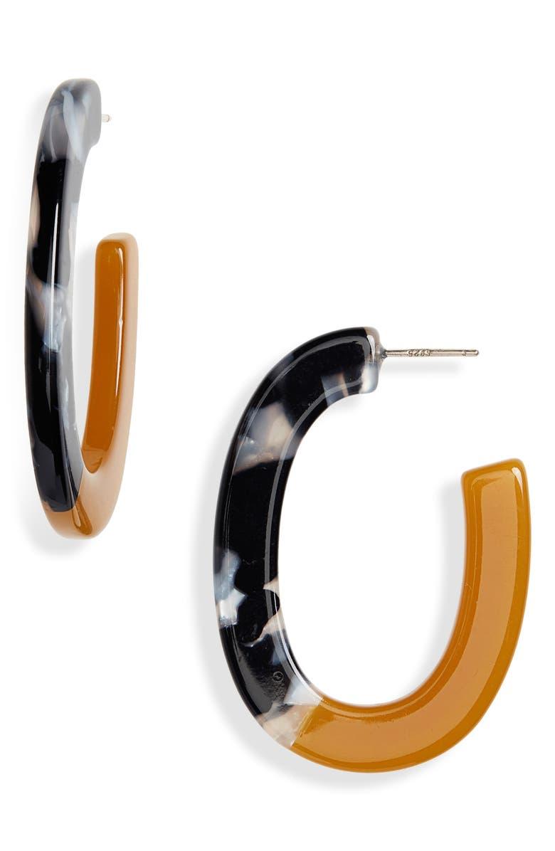 MADEWELL Resin Oval Hoop Earrings, Main, color, BELLINI MULTI
