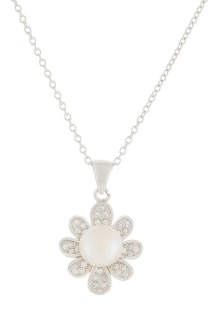 Image of Splendid Pearls Pave CZ & 7.5-8mm Cultured Freshwater Pearl Flower Pendant Necklace