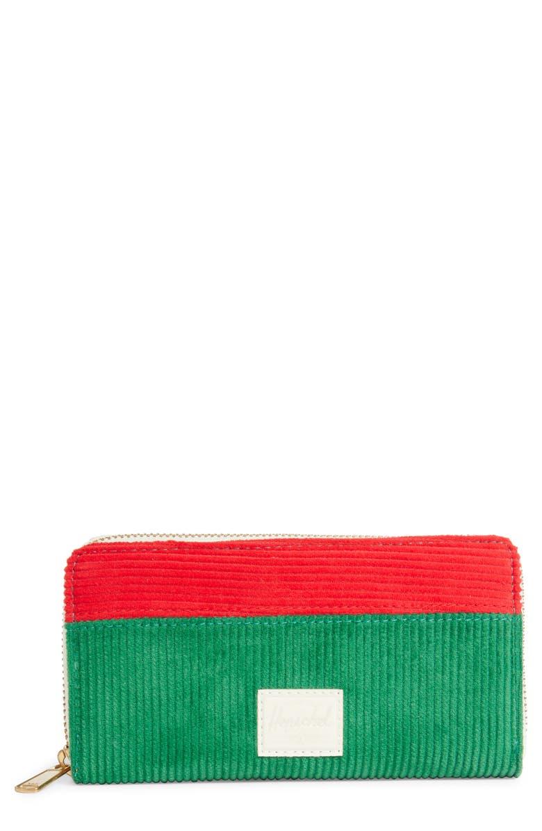 HERSCHEL SUPPLY CO. Thomas Zip Wallet, Main, color, GREEN/ RED