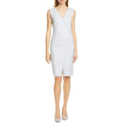 Tailored By Rebecca Taylor Cotton Blend Slub Sleeveless Sheath Dress, Grey